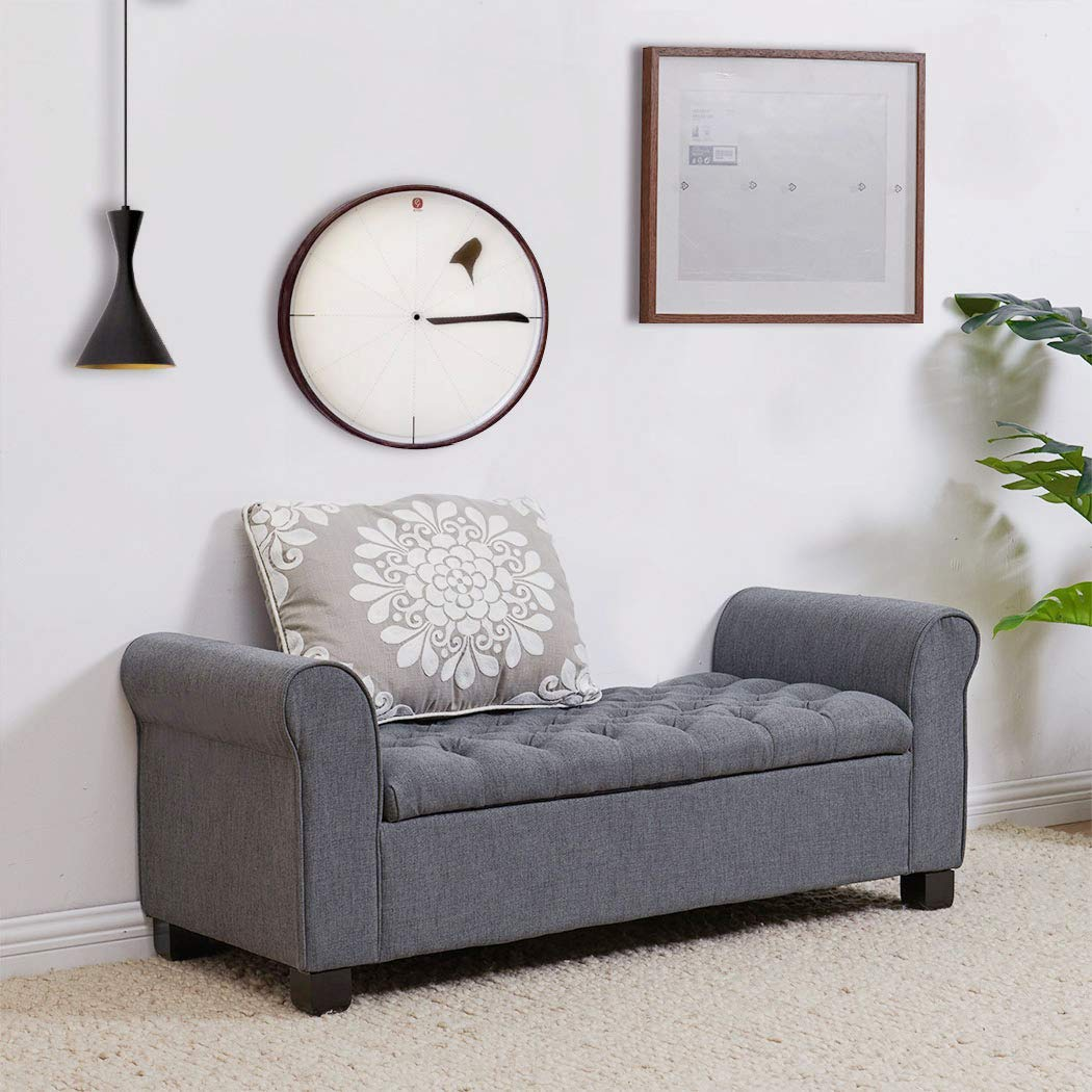 Large Tufted Ottoman Modern Armed Storage Bench Foot Rest Stool