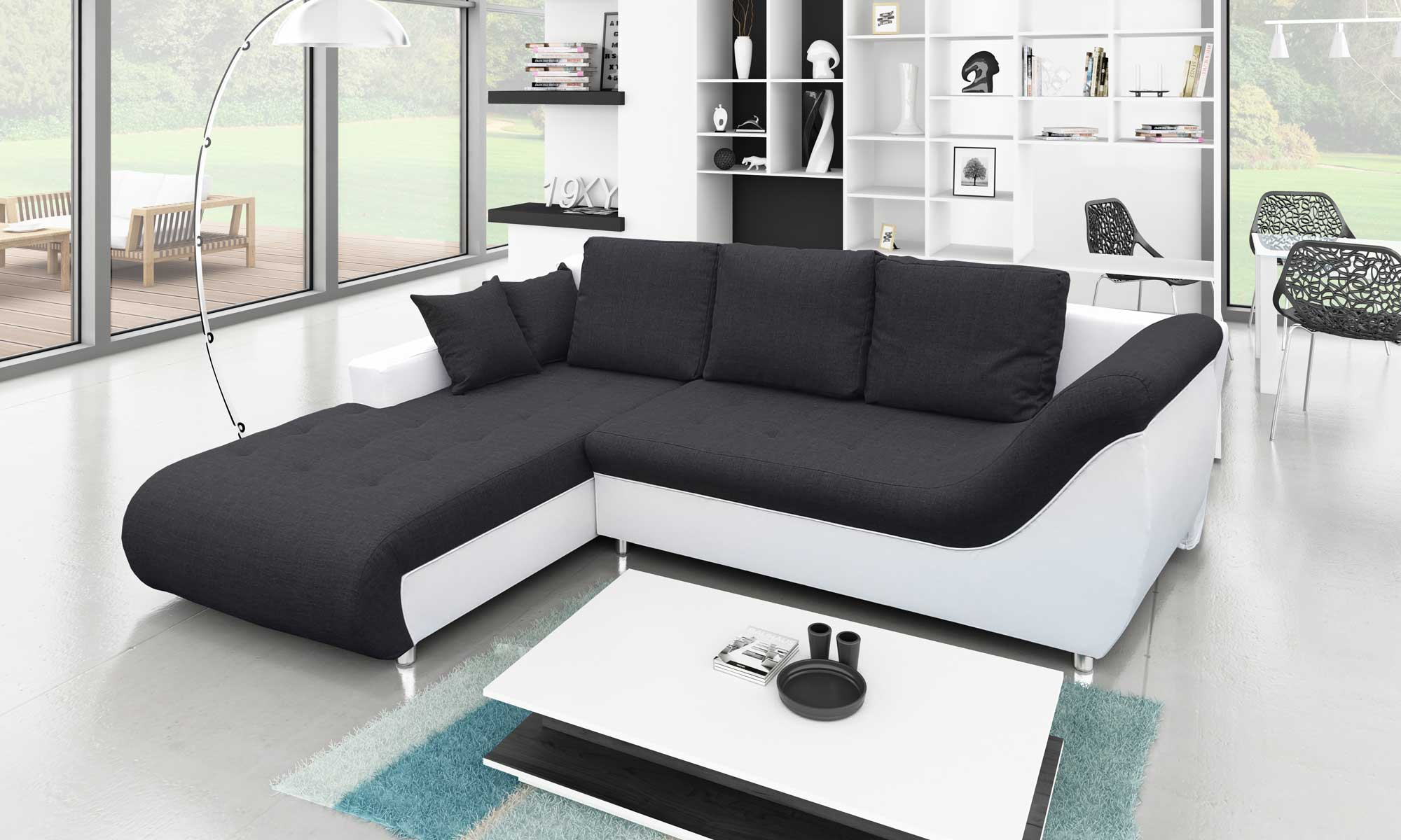 Convertible Four seater Sofa Bed Black and White with Storage Right L