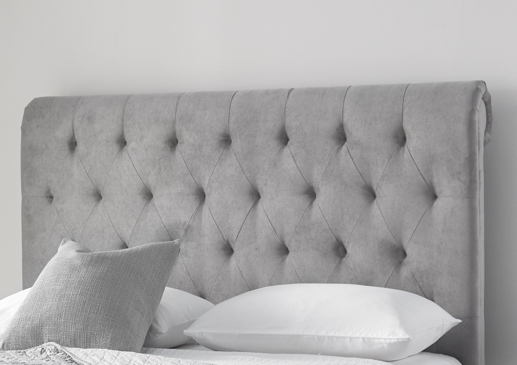 Valencia Upholstered Sleigh Bed Steel Grey