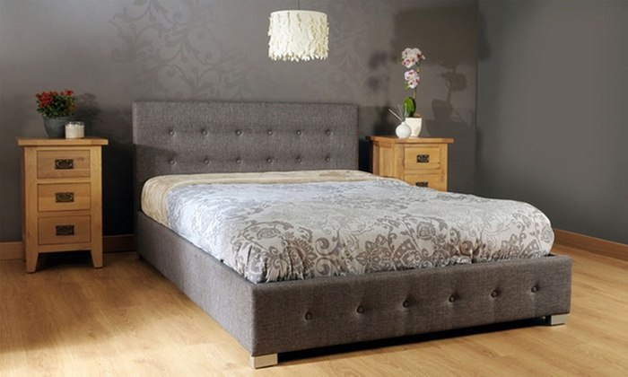 Artemis Gray Fabric Bed With Gas Lift